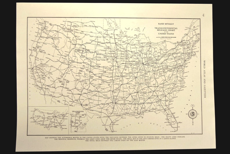 Vintage US Roadway Map US Highway Map US 1930s Usa Original Wedding Gift  Idea For Him Print