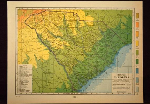 South Carolina Map South Carolina Topographic Map Colorful | Etsy