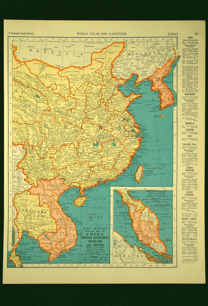 China Map of China Wall Art Decor Korea Thailand Mongolia | Etsy