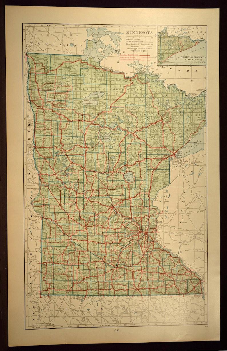 Minnesota Map of Minnesota Wall Decor Art Road Map LARGE | Etsy