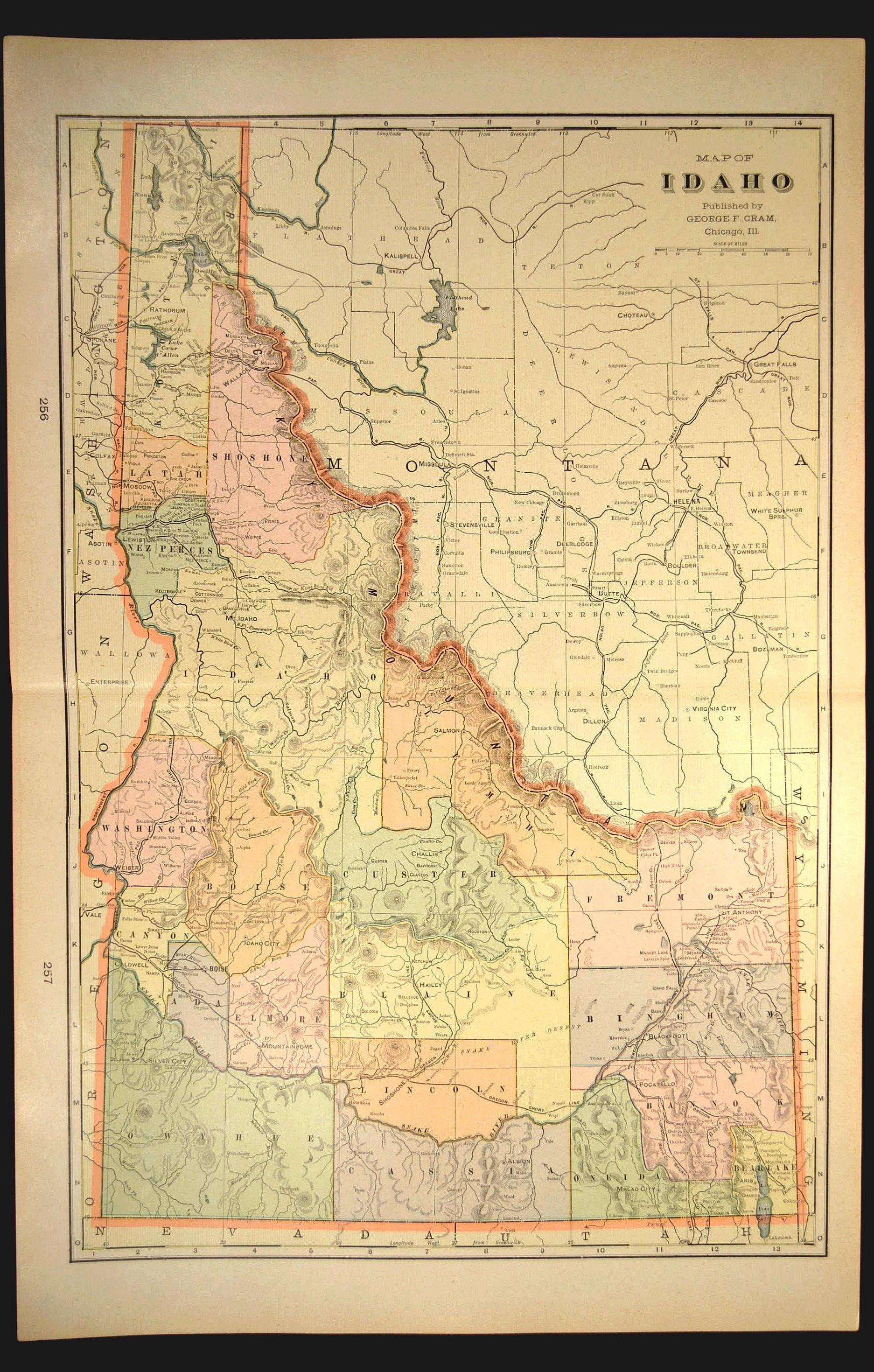 Albion Idaho Map.Idaho Map Of Idaho Wall Decor Art Large Antique Original Gift Etsy