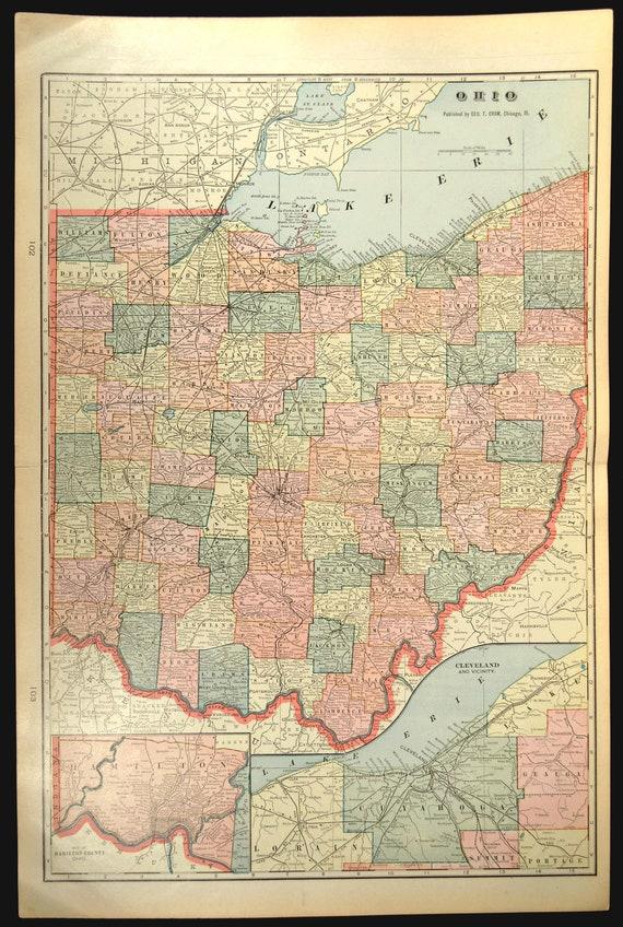 Ohio Map Of Ohio Wall Decor Art Large Antique Original Gift Etsy