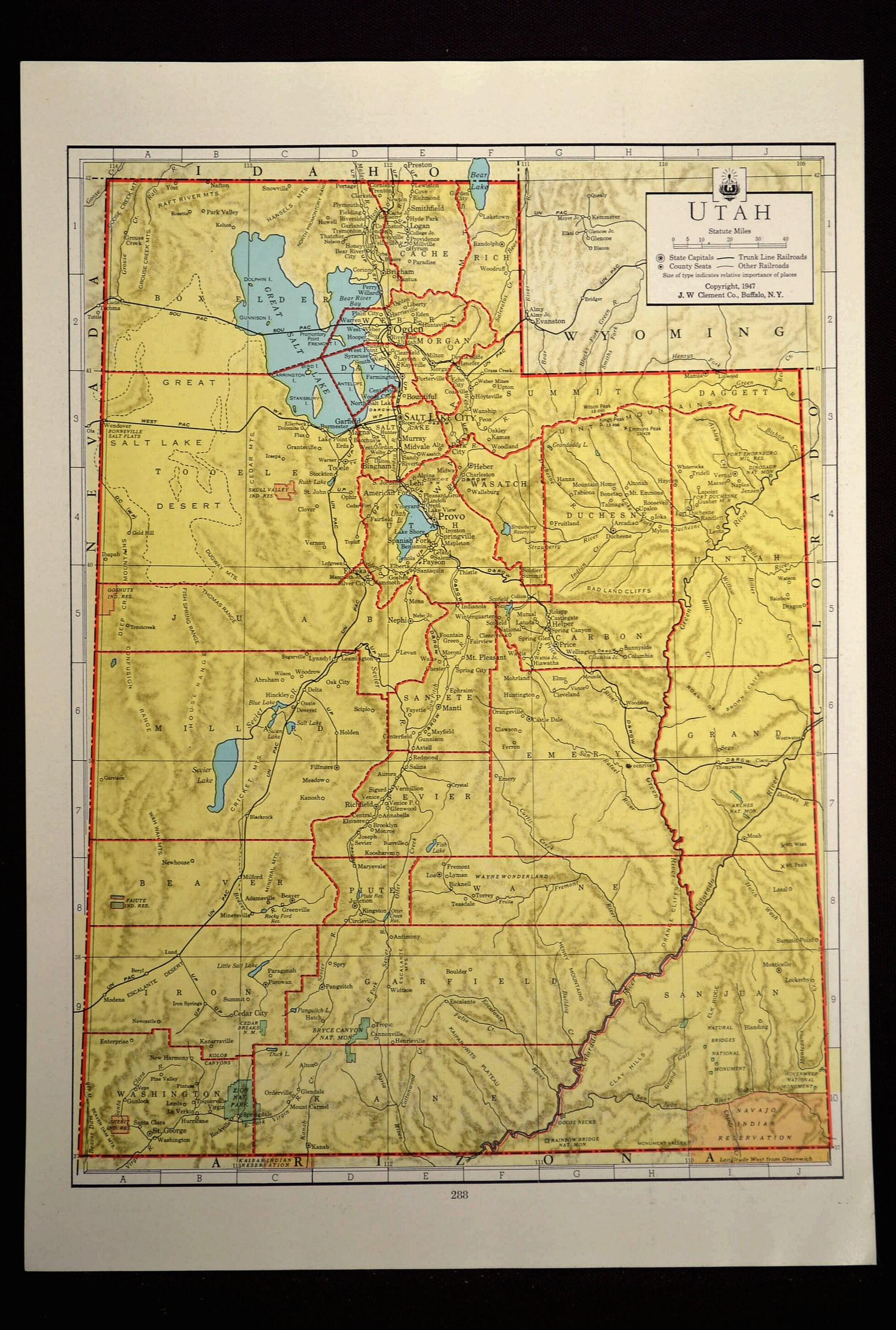 Utah Map Of Utah Wall Art Decor Colored Colorful Yellow Etsy