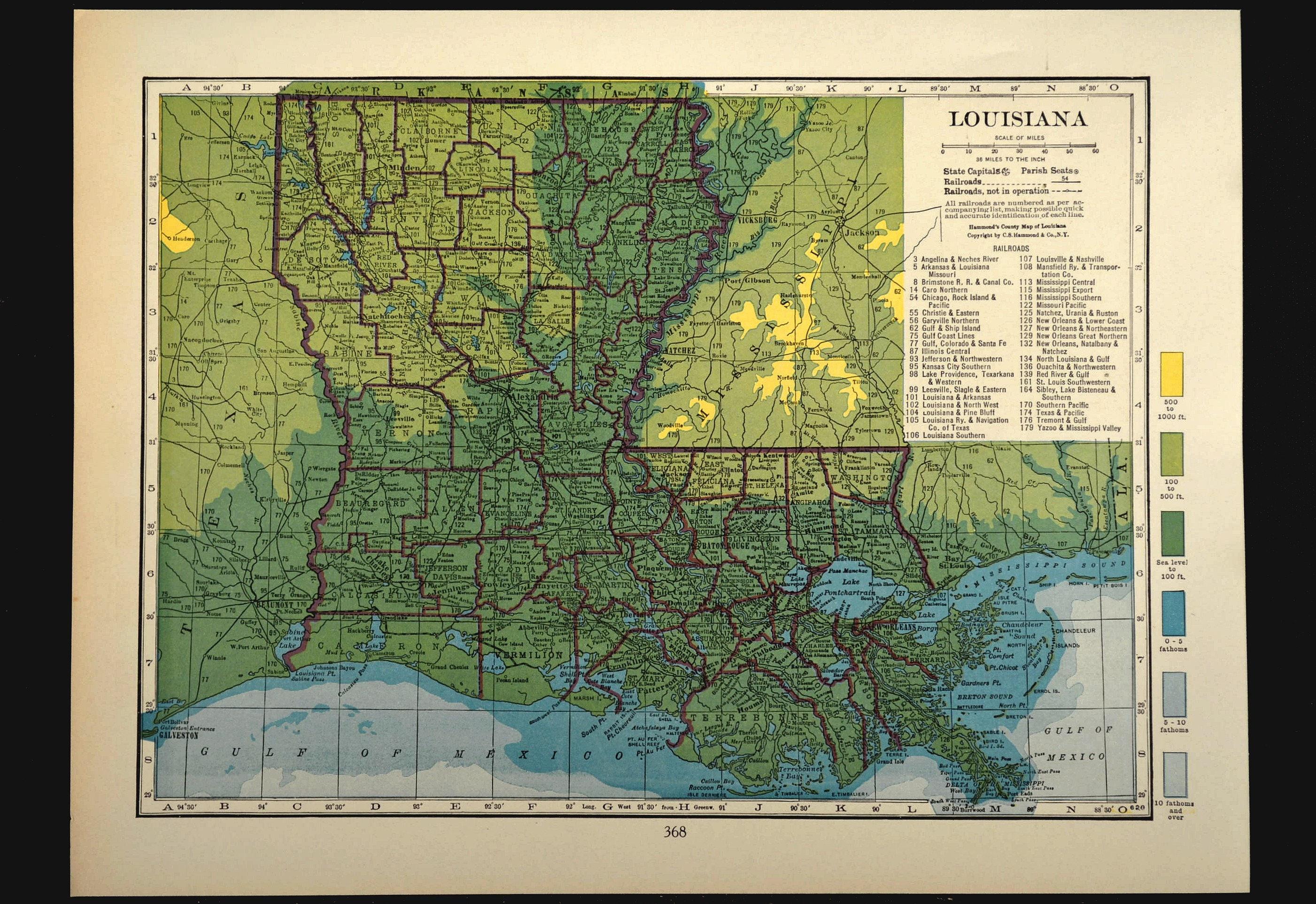Louisiana Map Of Louisiana Wall Art Decor Topographic Map Etsy