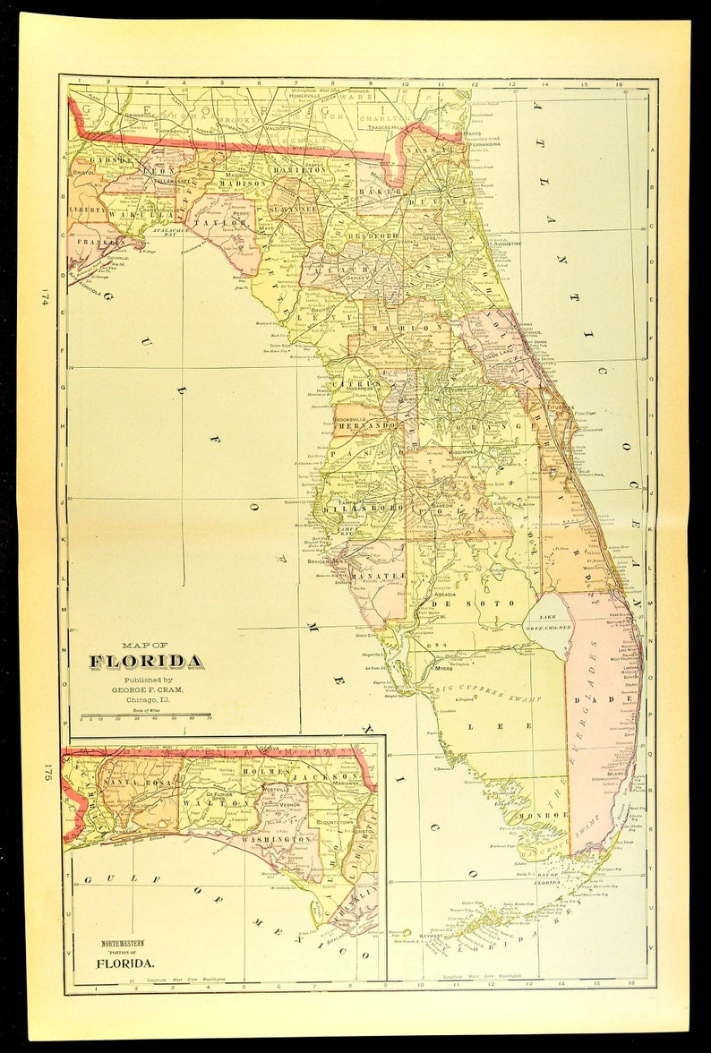 Western Florida Map.Florida Map Of Florida Wall Art Decor Antique Large Early 1900s Original Gift Idea Gift For Him Wedding Gift Print