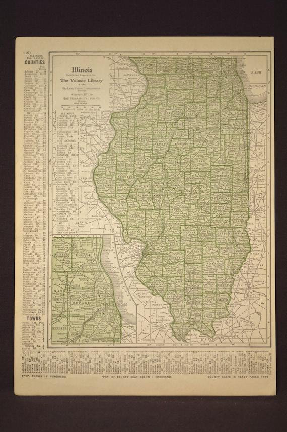 Bunker Hill Illinois Map.Illinois Map Of Illinois Wall Art Decor Antique Original Green Etsy