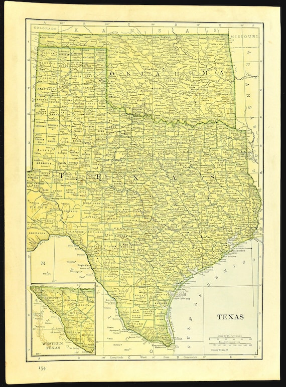 Texas Map of Oklahoma Map of Texas Wall Art Decor Original 1930s Wedding  Gift Idea For Him Print Old