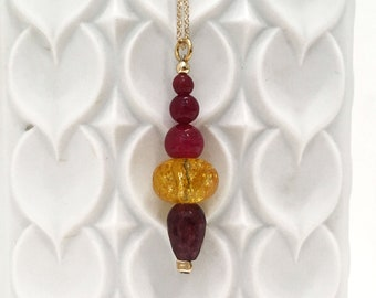 Yellow quartz, red agate and dark red jade pendant