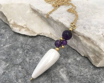 Amethyst cluster and white teardrop shell pearl pendant