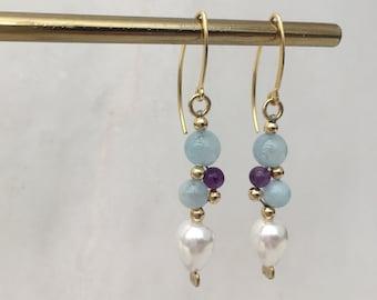 Aquamarine, amethyst and shell pearl ''grape'' earrings