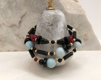 Amazonite, red agate and black onyx triple bracelet/ single necklace