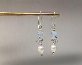 Moonstone, crystal and shell pearl ''grape'' earrings