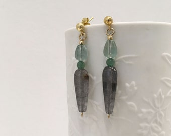 Grey jade, fluorite and aventurine earrings