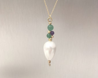 Aventurine, amethyst and shell pearl ''grape'' necklace