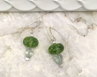 Green quartz and fluorite earrings