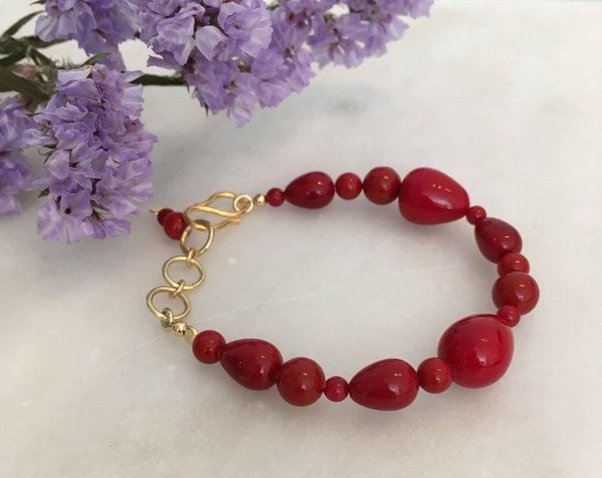 Red sculptural shell bracelet