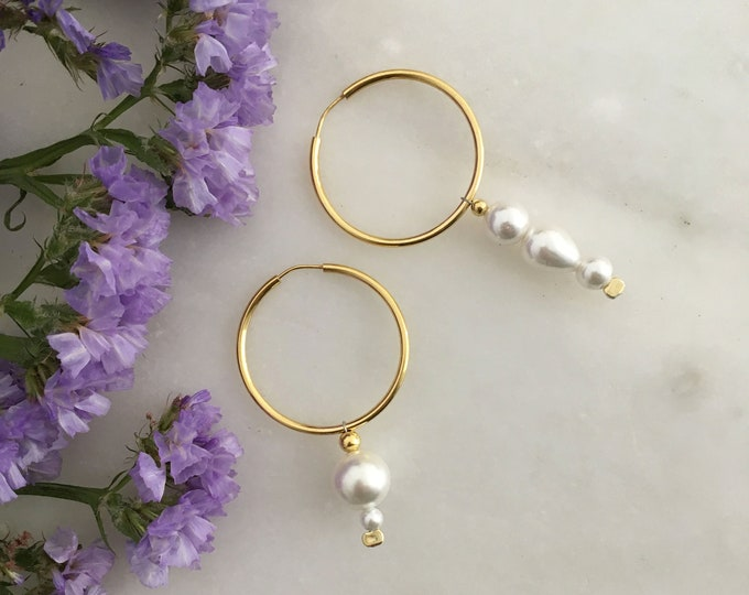 Mismatched gold plated silver hoop & white shell earrings