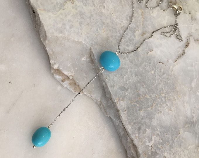 Turquoise oval shell  lariat
