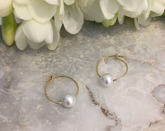 White shell pearl tiny hoops