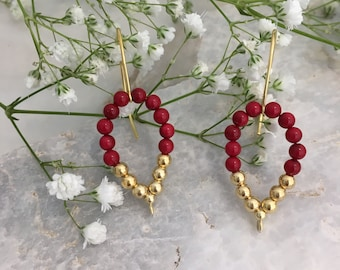 Red shell & gold plated silver leaf earrings