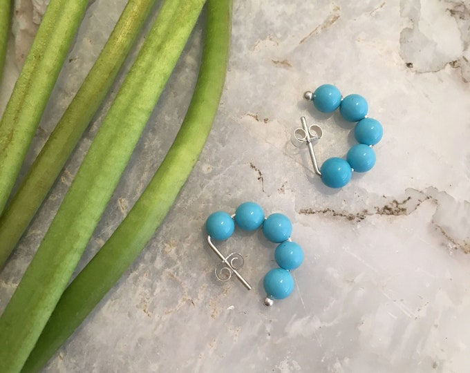 Turquoise shell pearl hoop studs