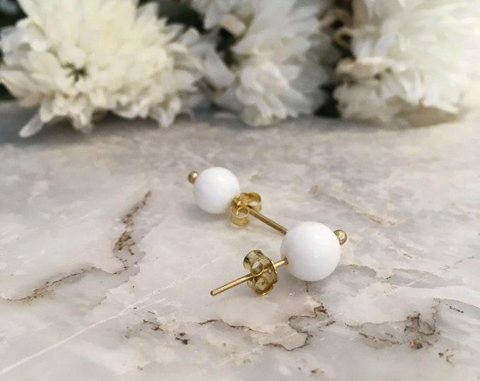 White onyx stud earrings