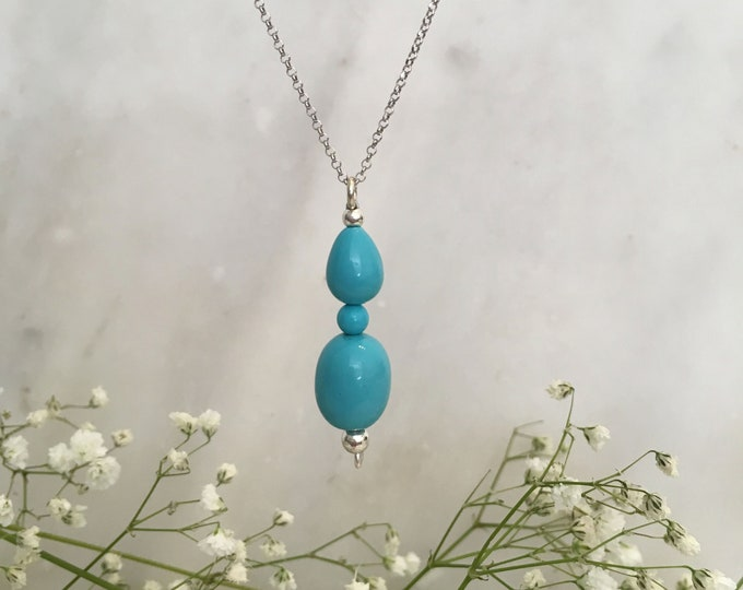 Turquoise shell pearl sculptural necklace