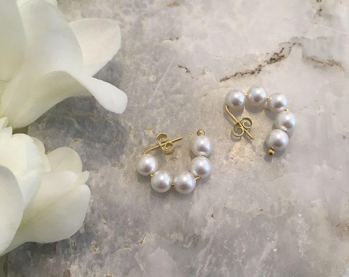 White shell pearl hoop studs