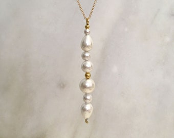 White shell pearl sculptural pendant