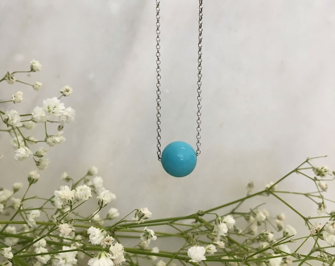 Turquoise shell pearl solitaire short necklace
