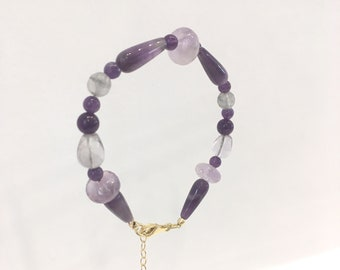 Amethyst, fluorite and grey quartz bracelet