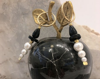 Art deco black onyx and white shell pearl hoop earrings