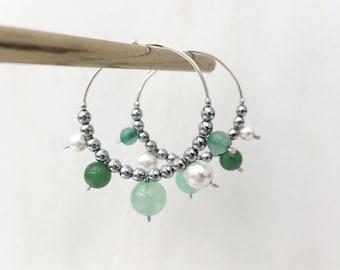 Aventurine, green jade and white shell hoops