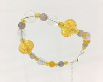 Yellow quartz, crystal, fluorite, yellow and grey agate bracelet