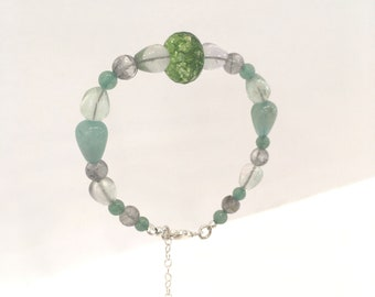 Green quartz, clear fluorite, aventurine, grey quartz and light green jade bracelet