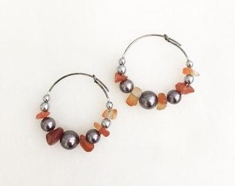 Orange quartz, shell and hematite Boho Hoops