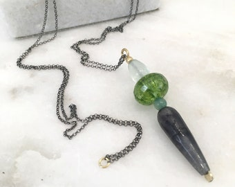 Green quartz, fluorite, aventurine and grey jade pendant