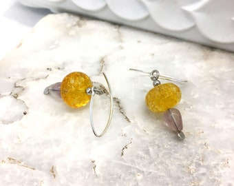 Yellow quartz and light purple fluorite earrings