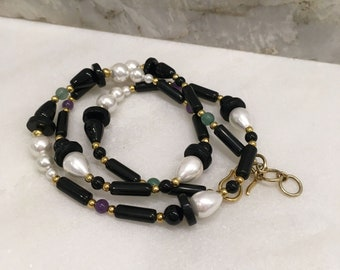 White shell, amethyst, aventurine and black onyx triple bracelet/ single necklace