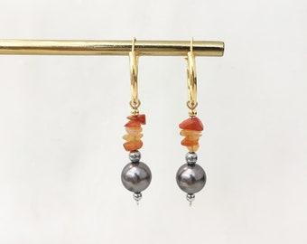 Orange quartz and grey shell pearl hoops