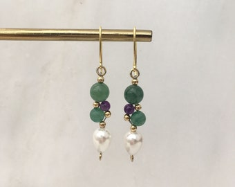 Aventurine, amethyst and shell pearl ''grape'' earrings
