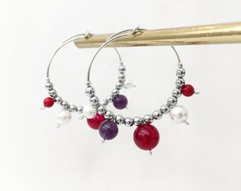 Red agate, amethyst, red shell and white shell hoops