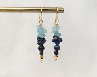 Sky blue quartz and sodalite Boho earrings