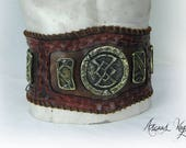 Tribal leather belt with ...