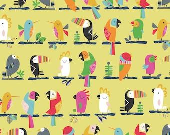 Fabric - Dashwood studios - Club Tropicana, birds - medium weight woven cotton fabric.