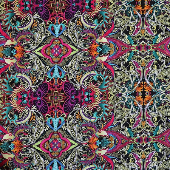 Poster Weights Etsy: Fabric Multicolored Detailed Line Art Print Medium Weight