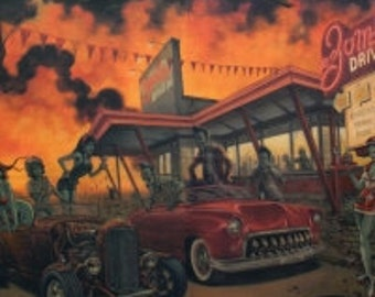 Fabric - Alexander Henry - Zombie Drive-In Apocalypse - cotton print.