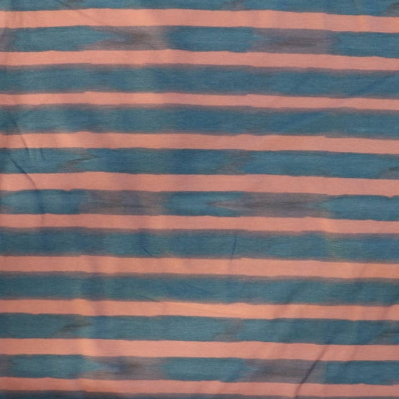 18d723bf001 Fabric jersey fabric Navy and pink watercolour stripe | Etsy