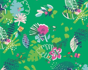Fabric - Dashwood studios - Club Tropicana, green floral - medium weight woven cotton fabric.