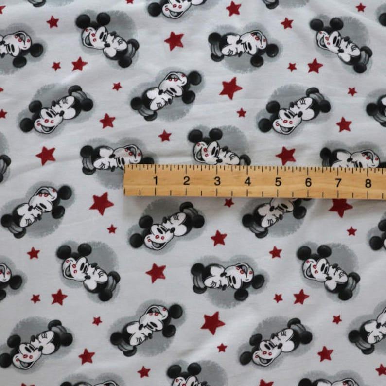6f371e157a2 Fabric Jersey fabric Mickey mouse print knit Light grey | Etsy